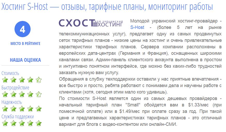 Рейтинги Украинских хостинг-провайдеров S-HOST